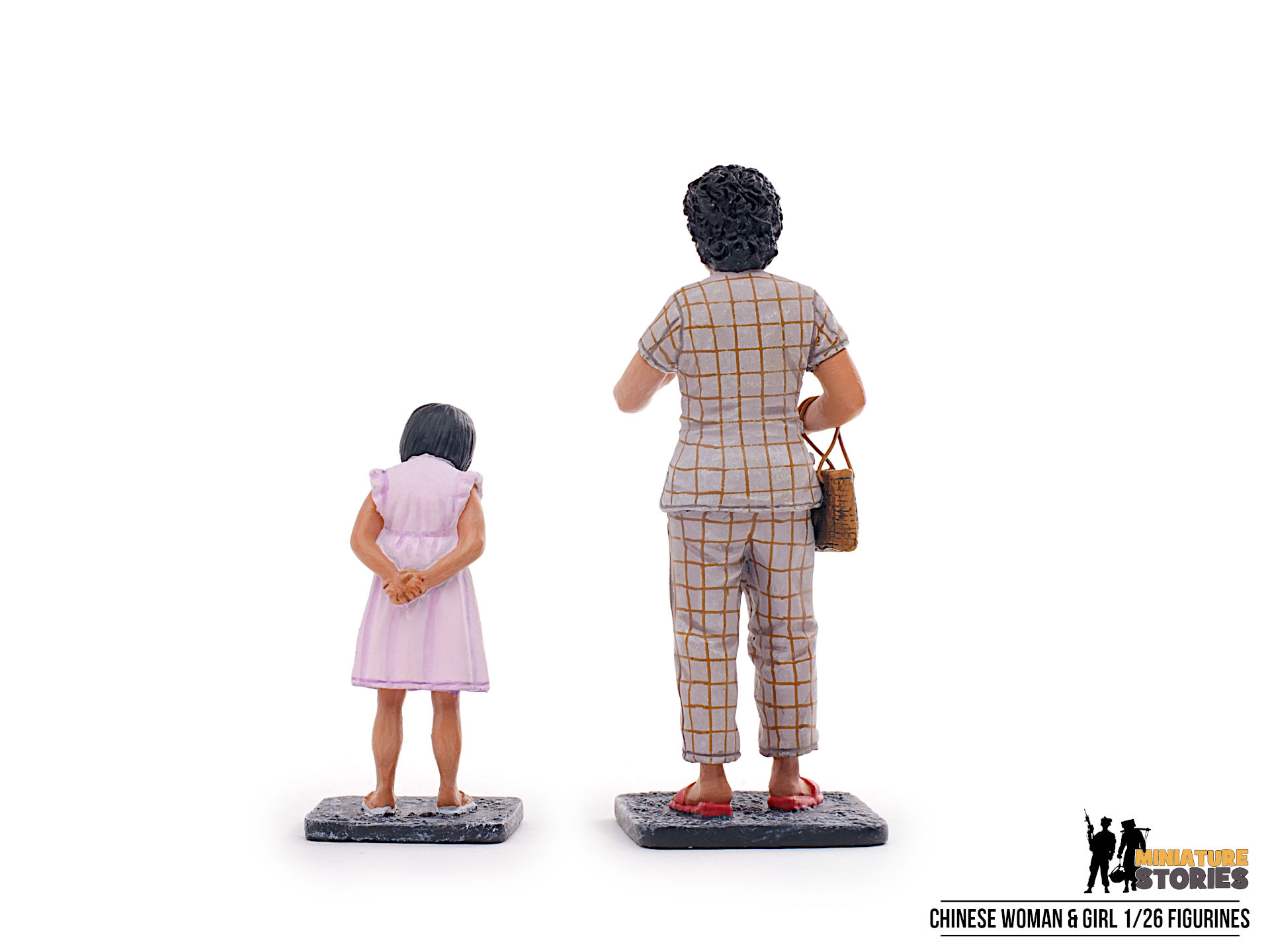 Miniature Stories Chinese Woman and Girl Figurines (Back)