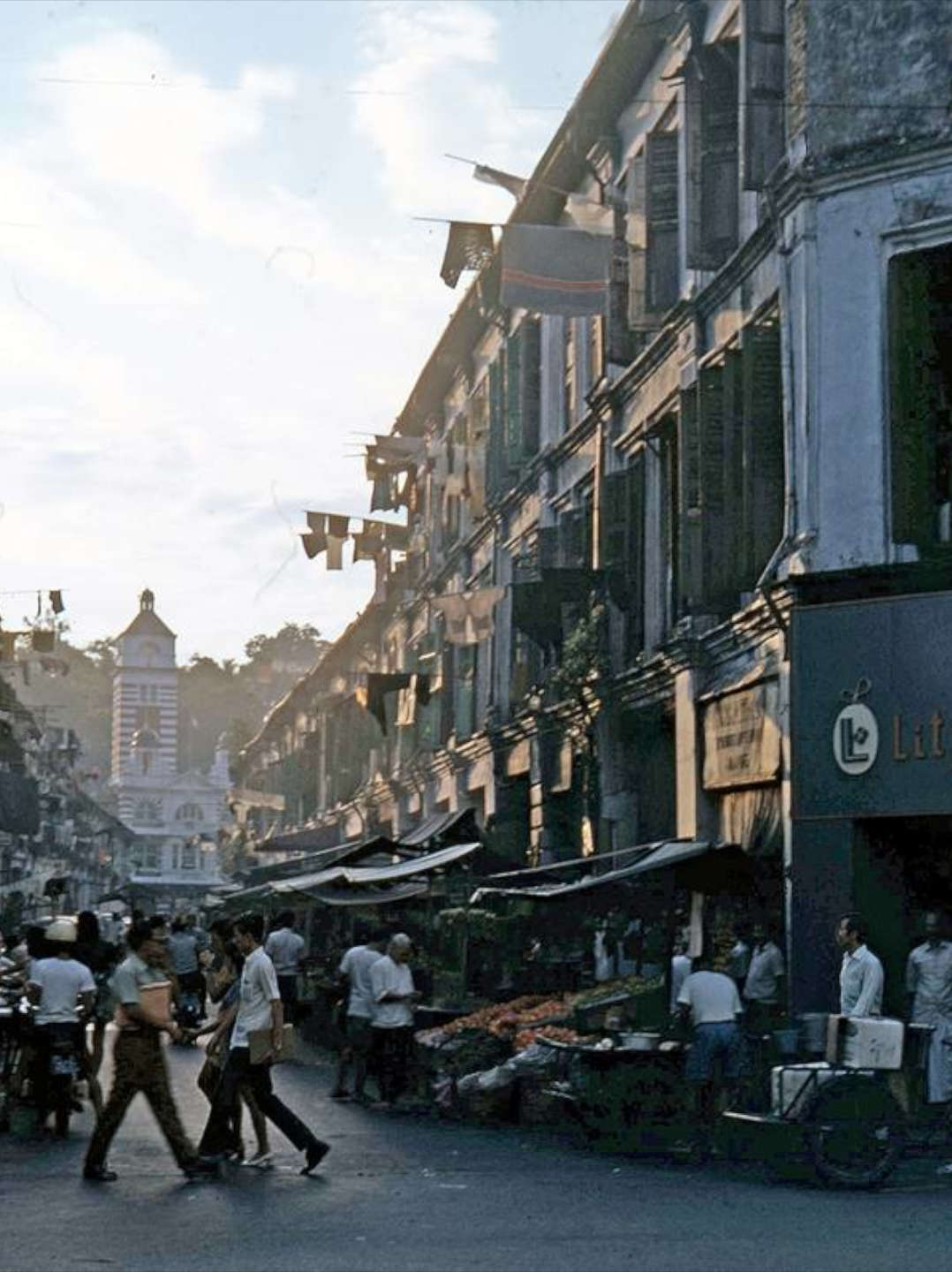 Shophouses along the old Hock Lam street in Singapore during the 1960s