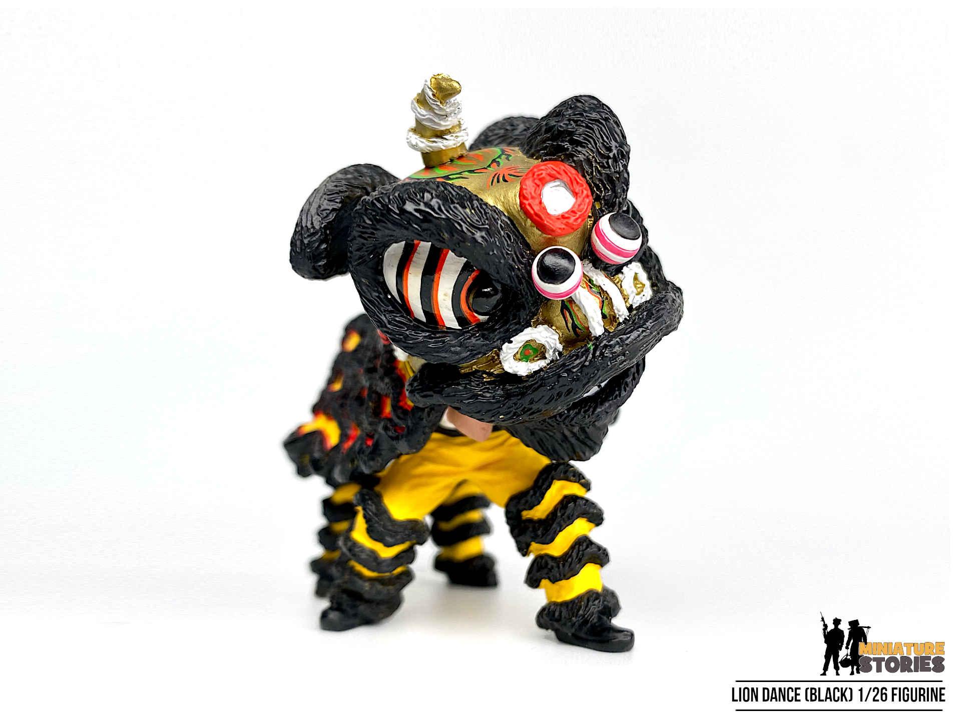 Miniature Lion Dance Figurine in Black (Close)