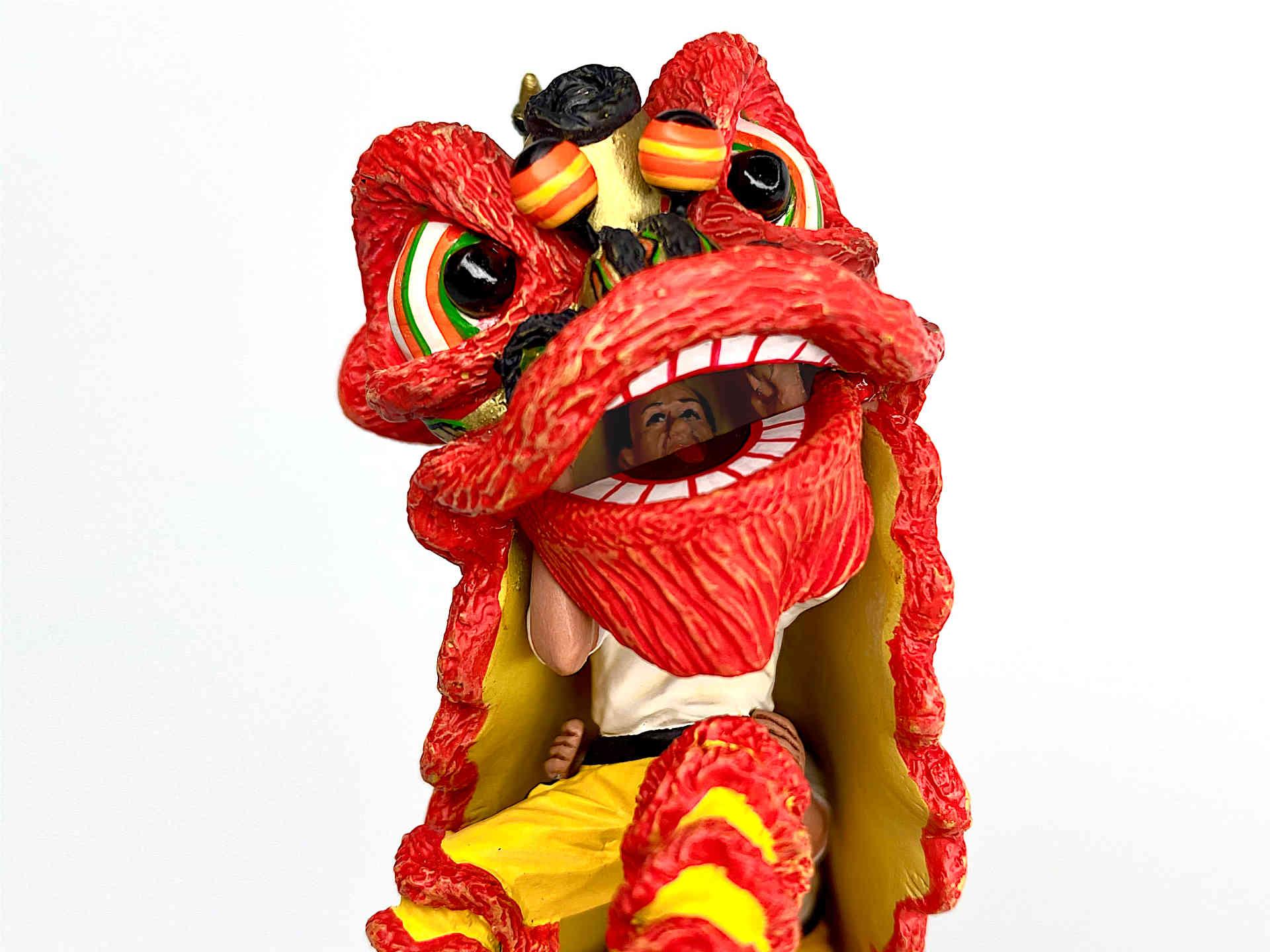Miniature Lion Dance Figurine in Red (Cover)